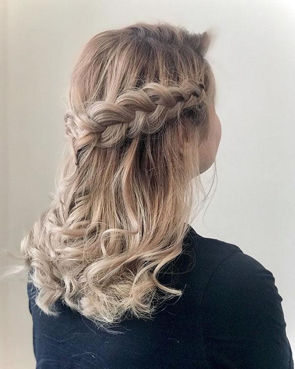 Medium Hair And Half Up Hairstyle