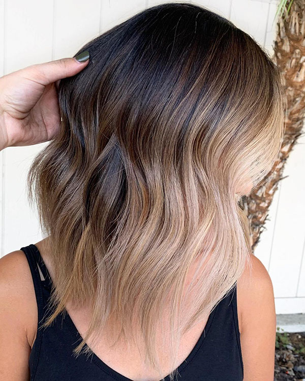 Brown To Blonde Ombre Medium Hair